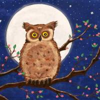 Owl in the Night Art Prints & Posters by Nina Bradica