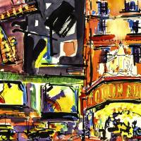 Famous French Dancehall and Brothel Art Watercolor Art Prints & Posters by Ginette Callaway