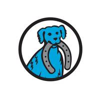 Blue Merle Dog Biting Horseshoe Circle Retro