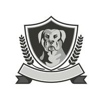 Rottweiler Head Laurel Leaves Crest Black and Whit