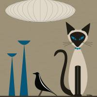 Siamese with Eames House Bird Art Prints & Posters by Donna Mibus