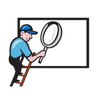 Worker Ladder Magnifying Glass Billboard Cartoon