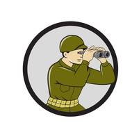 World War Two American Soldier Binoculars Cartoon