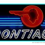 """Pontiac Neon Sign Teal Border"" by Automotography"