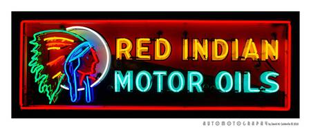 Red Indian Motor Oil Sign
