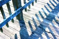 Blue Boardwalk Shadows with Glitter