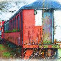 The Red Railroad Car Art Prints & Posters by Kirt Tisdale