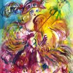 """ARLECCHINA  VIOLINIST / Venetian Carnival Night"" by BulganLumini"