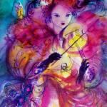 """MASQUERADE NIGHT, Violin Player in Pink Fuchsia"" by BulganLumini"