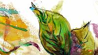 Modern Art Leaf Nature Watercolor by Ginette