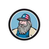Hillbilly Man Beard Circle Cartoon