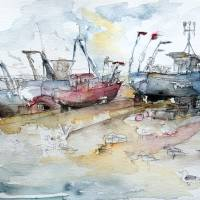 Fishing Boats at Hastings' Beach Art Prints & Posters by Barbara Pommerenke