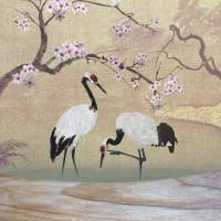 Red Crowned Cranes and Cherry Tree by I.M. Spadecaller