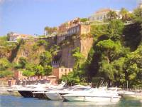 Sorrento  Yacht Harbour and Cliff Top ( Pastel )
