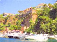 Sorrento Yacht Harbour & Cliff Top Colored Pencil