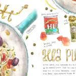"""Spaghetti alla Puttanesca by Heegyum Kim"" by TheyDrawandCook"