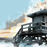 """Weathered Life Guard Station at the Shoreline"" by ElainePlesser"