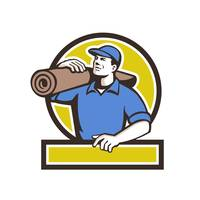 Carpet Layer Carpet Roll Circle Retro
