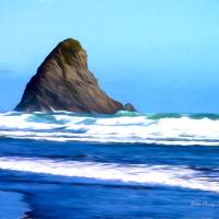 Lion Rock Piha Beach Art Prints & Posters by John Corney