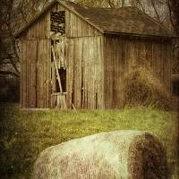 Rustic Old Barn and Hay Bale Art Prints & Posters by Soulful Photos