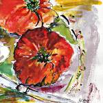 """Modern Watercolor Heirloom Tomatoes"" by GinetteCallaway"