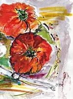 Modern Watercolor Heirloom Tomatoes