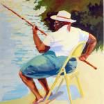 """Davie Woman Fishing"" by rogerwhite"