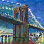New York City Brooklyn Bridge at Night by RD Riccoboni