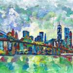"""New York- Lower Manhattan and Brooklyn Bridge"" by BeaconArtWorksCorporation"