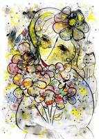 A woman with flowers and a cat