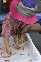 Japanese Girl Buys Goldfish at a Summer Festival