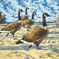 Crowd at the Beach Art Prints & Posters by Maxine Wolodko