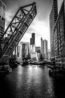 Chicago Kinzie Street Railroad Bridge in Black and