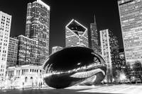 Cloud Gate Chicago Bean in Black And White
