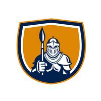 Knight Full Armor Holding Paint Brush Crest Retro