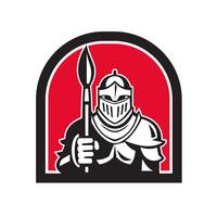 Knight Full Armor Holding Paint Brush Half Circle
