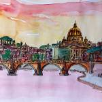"""Vatican Rome Italy Sunset On River Tiber With St P"" by arthop77"
