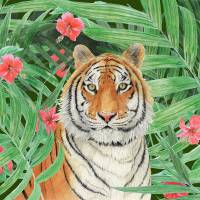 ik_tiger_flowers_pd Art Prints & Posters by Patrizia Donaera