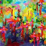 """Garden Flowers Impressions Oil Painting"" by GinetteCallaway"