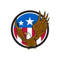 Bald Eagle Spread Wings USA Flag Circle Retro