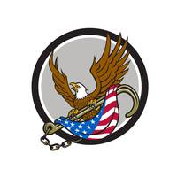 American Eagle Clutching Towing J Hook Flag Circle