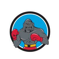 Gorilla Boxer Boxing Stance Circle Cartoon