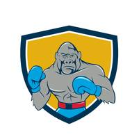 Gorilla Boxer Boxing Stance Crest Cartoon