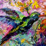"""Impressionist Hummingbird on Tropical Flowers"" by GinetteCallaway"