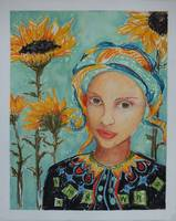 Girl with Sunflowers I