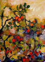 Rosehips Impressionist Oil Painting