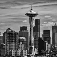 Seattle Skyline in B&W Art Prints & Posters by Kirt Tisdale