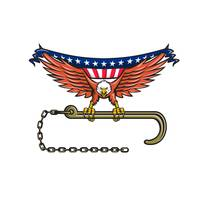American Eagle Clutching Towing J Hook USA Flag Re