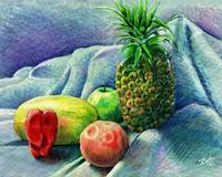 Pineapple & fruit still life