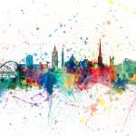 """Newcastle England Skyline"" by ModernArtPrints"